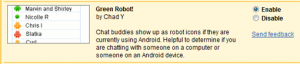 gmail zöld robotok