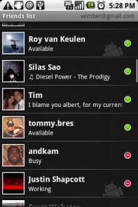 Gtalk ismerős lista (mobil vagy PC jelöléssel)