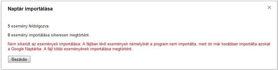 Nem sikerült az esemény importálása: A fájlban lévő események némelyikét a program már importálta...